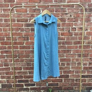 Sleeveless Chambray Button Down Dress